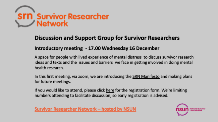 Discussion and Support Group – 16 December