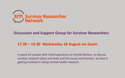 Wednesday 18 August – SRN Discussion and Support Group